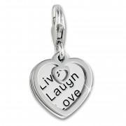 SilberDream Charm Herz mit Botschaft 925er Silber Armband Anhänger FC905J