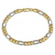 GoldDream Armband Figaro hohl bicolor 333 Gold 19cm 8 Karat GDA0409T
