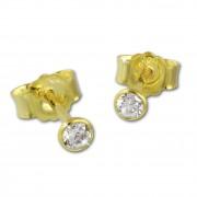 GoldDream Ohrstecker Zirkonia 3mm weiß Ohrring 333 Gelbgold GDO0053Y