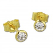 GoldDream Ohrstecker Zirkonia 4mm weiß Ohrring 333 Gelbgold GDO0054Y