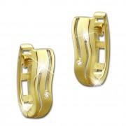 GoldDream Creole oval Line Zirkonia weiß Ohrring 333 Gold Echtschmuck GDO524WY