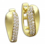 GoldDream Creole Glamour Zirkonia weiß Ohrring 333 Gold Echtschmuck GDO526WY