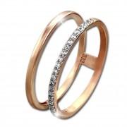 GoldDream Gold Doppel Ring Zirkonia weiß Gr.56 333er Rosegold GDR505E56