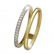 GoldDream Gold Doppel Ring Zirkonia weiß Gr.60 333er Gelbgold GDR505Y60