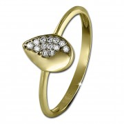 GoldDream Gold Ring Blatt Zirkonia weiß Gr.60 333er Gelbgold GDR506Y60