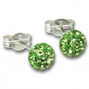 SilberDream Ohrstecker Halbkugel grün 925 Glitzer Kristalle GSO221L