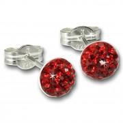 SilberDream Ohrstecker Halbkugel rot 925er Glitzer Kristalle GSO221R