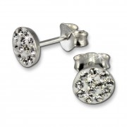 SilberDream Ohrring Rund weiß 925er Silber Ohrstecker GSO252W