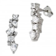 SilberDream Ohrhänger Ranke Zirkonia 925 Sterling Silber Damen Ohrring GSO489W