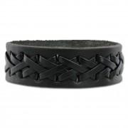 SilberDream Lederarmband schwarz Kreuzband Leder Armband LA5654S