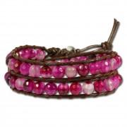 SilberDream Lederarmband Achat pink Damen Leder Armband LAN003