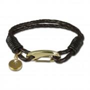 SilberDream Edelstahl golden Lederarmband braun Bolo-Armband LAP514B