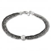 SilberDream Armband Kugel geschwärzt 925 Silber Damen 20,5cm SDA1001K