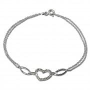 SilberDream Armband Herz Zirkonia weiß 925er Sterling Silber 19cm SDA423W