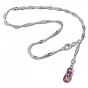 SilberDream 25,5cm Fußkette Flipflop rosa 925er Silber SDF022A