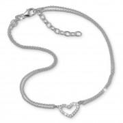 SilberDream Fußkette Herz Zirkonia weiß 27cm Damenschmuck 925er Silber SDF0383J