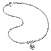 SilberDream Fußkette Herz 25cm Zirkonia blau Silber SDF2025B