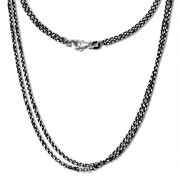 SilberDream Collier Kette schwarz 925 Silber Damen 45cm SDK24245S