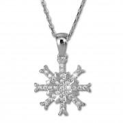 SilberDream Halskette mit Anhänger Schneeflocke weiß 44,5cm 925 Silber SDK4981W