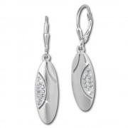 SilberDream Ohrhänger Oval Zirkonia weiß 925 Silber Ohrring SDO353M