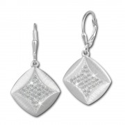 SilberDream Ohrhänger Quadrat Zirkonia weiß 925 Silber Ohrring SDO362M