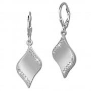 SilberDream Ohrhänger Welle Zirkonia weiß 925 Silber Ohrring SDO363M