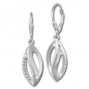 SilberDream Ohrhänger Blatt Zirkonia weiß 925 Silber Damen Ohrring SDO365M