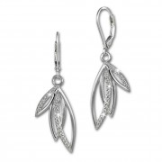 SilberDream Ohrhänger Blätter Zirkonia weiß 925 Silber Ohrring SDO4287W