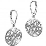 SilberDream Ohrhänger Scheibe Big Zirkonia 925 Silber Damen Ohrring SDO4312W