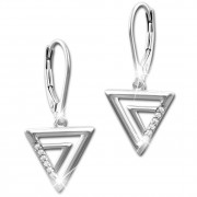 SilberDream Ohrhänger Dreiecke Zirkonia 925 Silber Damen Ohrring SDO4315W
