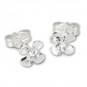 SilberDream Ohrringe Blume weiß 925 Silber Ohrstecker SDO508W