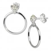 SilberDream Ohrringe Ring mit Blüte weiß 925 Silber SDO526W