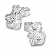 SilberDream Ohrringe Blume Zirkonia weiß 925 Silber Ohrstecker SDO543W