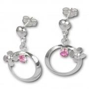 SilberDream Ohrringe Blütenring Zirkonia rosa Ohrstecker 925er SDO547A