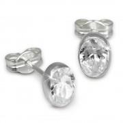 SilberDream Ohrringe Zirkonia oval weiß 925 Silber Ohrstecker SDO552W