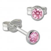 SilberDream Ohrringe Zirkonia rosa 3mm 925 Silber Ohrstecker SDO5533A
