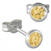 SilberDream Ohrring Zirkonia gelb 4mm 925 Silber Ohrstecker SDO5534Y