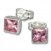 SilberDream Ohrringe Zirkonia rosa 925 Silber Ohrstecker SDO558A