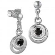 SilberDream Ohrring Doppelring Zirkonia schwarz 925 Ohrhänger SDO580S