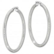 SilberDream Creole Diamant-Cut 6cm 925 Sterling Silber Damen Ohrring SDO67386