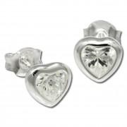 SilberDream Ohrstecker Herz mit Zirkonia weiß Silber Ohrringe SDO792W