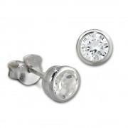 SilberDream Ohrstecker Zirkonia Rund 5mm weiß 925 Silber SDO8509W
