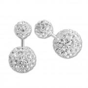 SilberDream Doppel-Ohrringe Glitzerperlen weiß Tribal Design 925 Silber SDO8516W