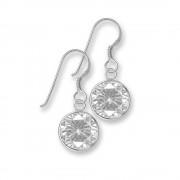 SilberDream Ohrhänger Rondell Zirkonia weiß 925 Silber SDO8602W