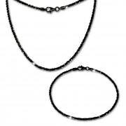 SilberDream Schmuckset gedreht schwarz Kette & Armband 925 Silber SDS205S