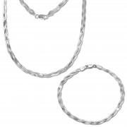 SilberDream Schmuckset Zopf Halskette & Armband 925 Sterling Silber SDS2201C