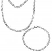 SilberDream Schmuckset Zopf Halskette & Armband 925 Sterling Silber SDS2201J