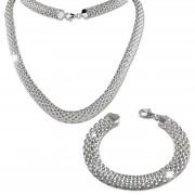 SilberDream Schmuckset Geflecht Halskette & Armband 925 Sterling Silber SDS2202J