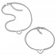 SilberDream Schmuckset Herz Fußkette & Armband 925 Sterling Silber SDS2203J
