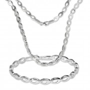 SilberDream Schmuck Set Collier & Armband oval offen 925 Silber SDS401